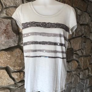 Scoop neck T-shirt with stripes and clear sequin